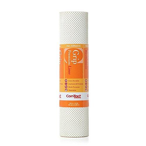 Con-Tact Brand Grip Premium Non-Adhesive Shelf Liner,18-in. x 10-Ft., Bright White