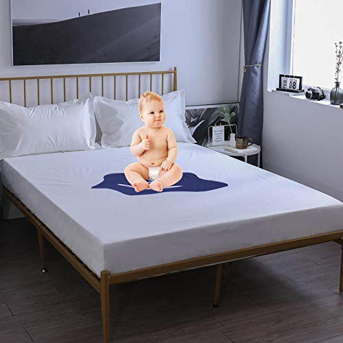 N / A Soft Wrinkle Resistant Fitted Bed Sheet,Waterproof bed sheet bedspread bed cover dust cover children's mattress protection cover single double-white_150cmx200cm+30cm