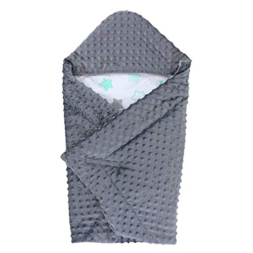 TupTam Baby Frühling-Sommer Einschlagdecke für Babyschale, Farbe: Graphit/Sterne Mint Grau/Weiß, Größe: ca. 75 x 75 cm