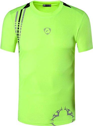 jeansian Hombres Camiseta Deporte Delgado Tapas Men Quick-Dry T-Shirt Sport Slim Tops LSL020 (US XL/Label XXL, LSL1052_GreenYellow)