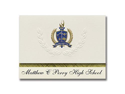 Signature Announcements Matthew C Perry High School (Fpo, AP) Graduierung Ankündigung, Presidential Style, Basic Paket von 25 mit Gold & Blau Metallic Folien-Siegel