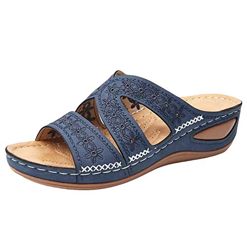 RXLLDOLY Pantoffeln Damen Sandalen Slippers Schuhe Bequeme Orthopädische Pantolette Hausschuhe rutschfest Sommer Aushöhlen Blumen Sandaletten Casual Slingback Open Toe Schuhe(Blau,40 EU)