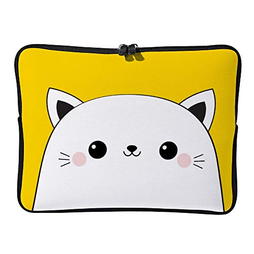 DKISEE Cat Head Face Icon Cute Cartoon Kawaii Funny Laptop Sleeve for MacBook Air/MacBook Pro Compatible with 13 Inch Notebook Two way Zippers Laptop Carry Bag Case Cover