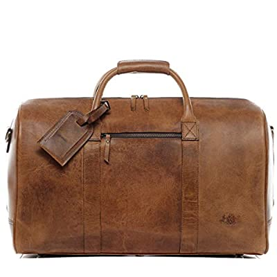SID & VAIN Sac de Voyage Cuir véritable Chad fourre-Tout Besace Week-End 50 cm XL Grand Sac Sport Bagages Cabine à Main Marron