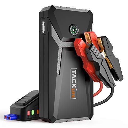 TACKLIFE T8 Mix Arrancador de Coche - 500A 12000mAh arrancador de baterias de Coche (hasta 4.0L Gas o 2.0L Diesel), con USB Puerto de Carga Rápida, LED Linterna, Brújula