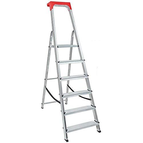 Alu-Stufenleiter mit 6 Stufen, erreichbare Arbeitshöhe 3210 mm