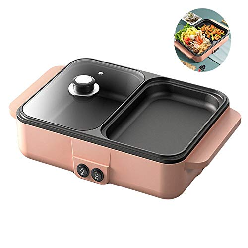 N / A Electric Hot Pot Indoor BBQ Grill, Divider Non-Stick Pan, Separate Dual Temperature Control, Tempered Glass Lid, for Family Gatherings.3.18.613.5in