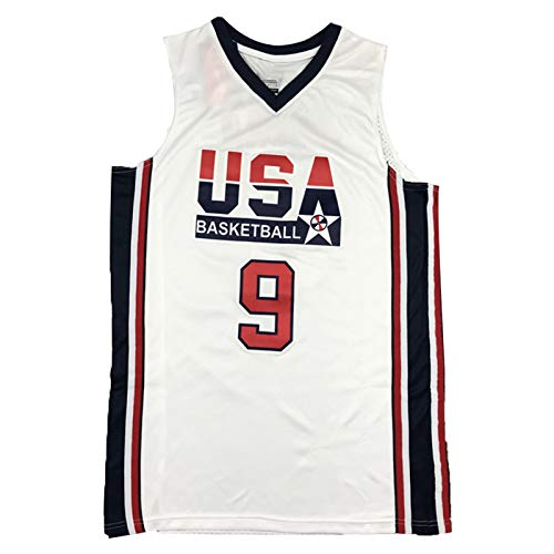 CLKI # 9 Michael Jordan EE.UU. Equipo de ensueño Jersey de Baloncesto, Camiseta de Sudadera Transpirable de Secado rápido al Aire Libre para Hombre White-XL