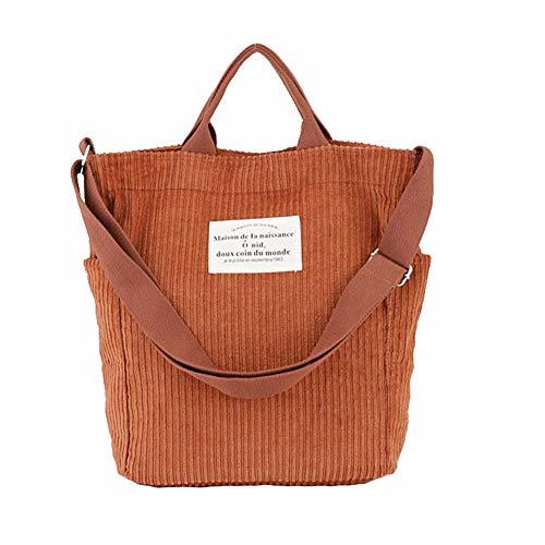 YARUODA Women Shoulder Handbags Corduroy Crossbody Bag Work School Bags, Orange