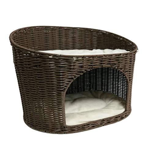 YQ WHJB Pet House Basket Bed Basket Basket Ratán sofá de Resina de Doble Capa Sofá con cojín (Color: B, Tamaño: 50x36x52cm)