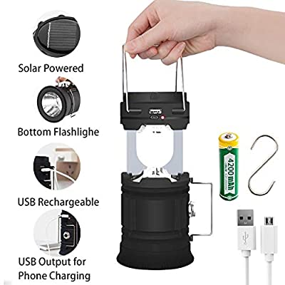 Rechargeable LED Camping Lantern USB,COB Lantern Flashlight 2 Power Supply Modes Survival Kit for Emergency, Hurricane, Power Outage
