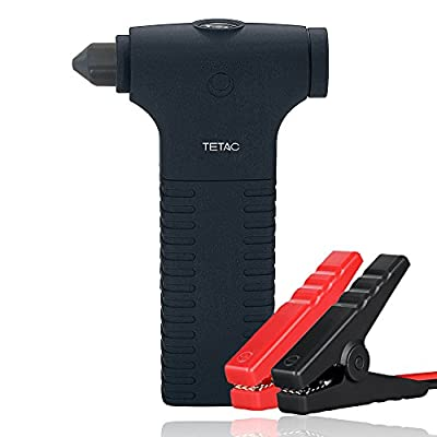 TETAC 12000mAh Lithium Battery Portable Car Jump Starter Power Bank with Integrated Safety Hammer, LED Flash Light, and Smart Jumper Clamps (Up to 5.0L Gas or 3.0L Diesel Engines)(Orange)
