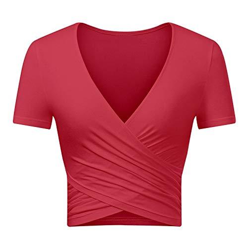 Uniquestyle Top Débardeur Femme Haut Mode Sexy Croix en Col V Profond Tee Shirt Femme Moulant Chic Rouge M