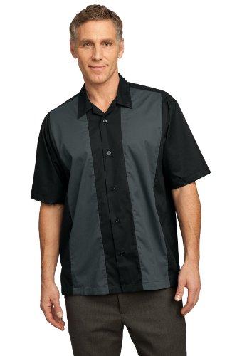 Port Authority Men's Retro Camp Shirt XXL Black/Steel Grey