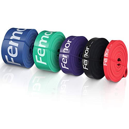 Femor Ensemble de 5 Bandes de Résistance de Version Améliorée, Bande Élastique Fitness 100% Latex Naturel avec Instructions d'exercice, Niveaux Différents pour Musculation Yoga Sport et Étirements
