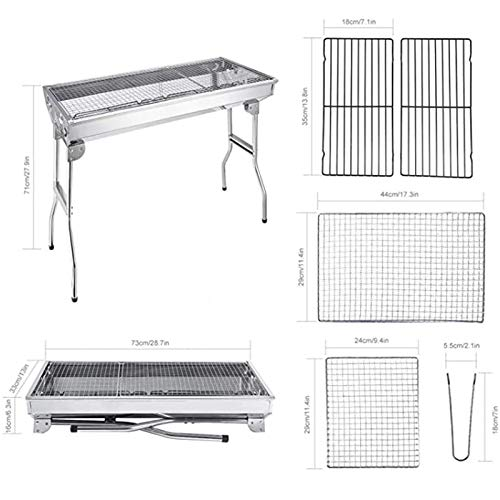 Jeseca Barbecue Grill Stainless Steel BBQ Charcoal Grill Barbecue Folding Portable for Outdoor Cooking Camping Hiking Picnics Backpacking Large (Color : Silver, Size : B)