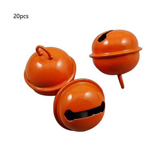 Nieuwe 20 stks kleurrijke ijzer metalen jingle bell kerstversiering huisdier hangers sleutel diy ambachten handgemaakte accessoires 22mm, oranje