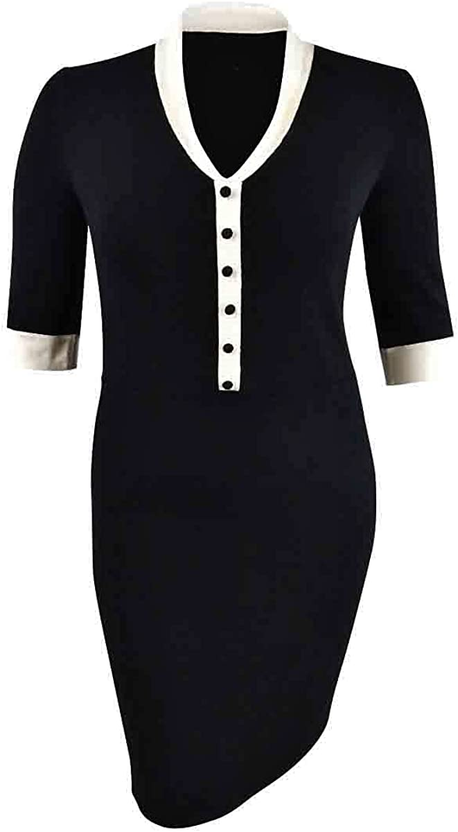 Anne Klein Women's Short Sleeve Shawl Collar Dress