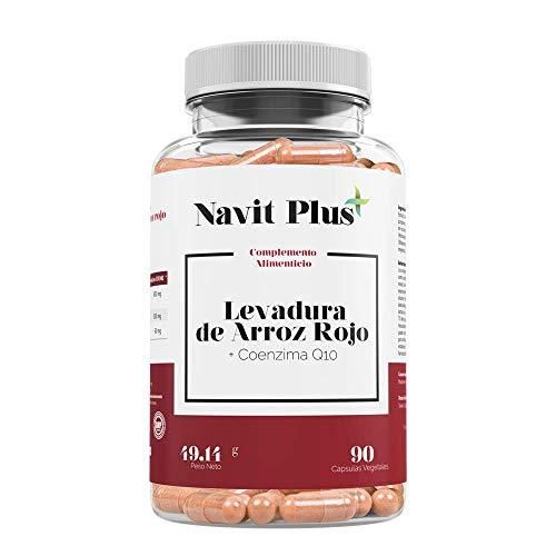 Levadura de arroz rojo alta concentración + 30mg de Coenzima Q10 por cápsula | 90 cápsulas vegetales | Regula el Colesterol | Antioxidante natural | Fab Esp | VEGANO.