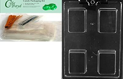 Cybrtrayd Mdk50-AO140 Plain Krispy Treat Rectangle Bar All Occasions Chocolate Candy Mold with Packaging Bundle of 50 Cello Bags, 50 Twist Ties and Chocolate Molding Instructions