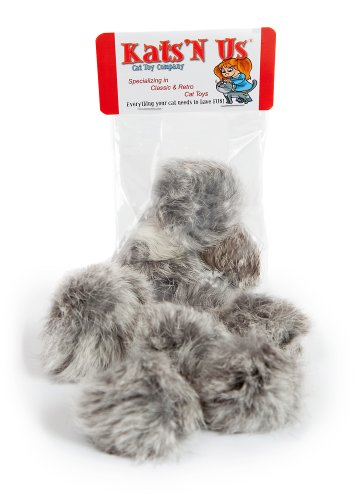 Real Rabbit Fur Pom Pom Cat Toy - 5 Pak