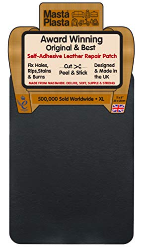 MastaPlasta Self-Adhesive Instant Leather & Vinyl Repair Patch, XL - 8 x 11 Inch. Black