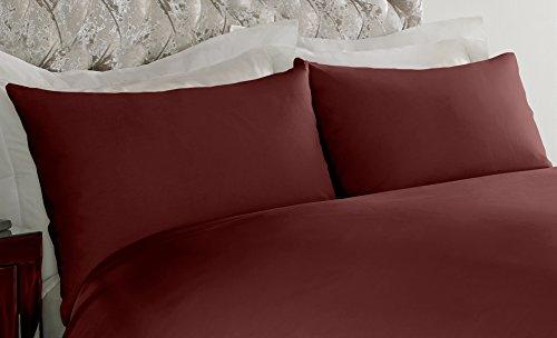 Sapphire Collection 2 x Pair of Housewife Pillow Cases Non Iron Percale Bedroom Bedding Pillow Cover (Burgundy)