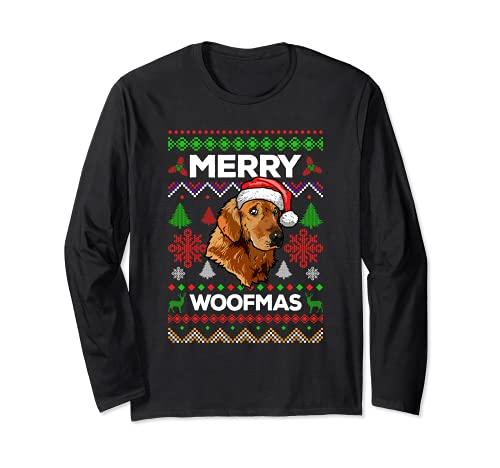 Merry Woofmas Ugly Sweater Navidad Golden Retriever Perros Manga Larga