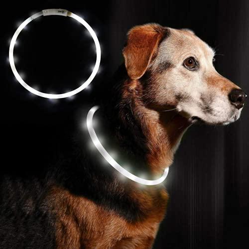 Moking Collar para mascotas con luz LED, recargable, USB, ajustable, para perros y gatos, 2 unidades (blanco)