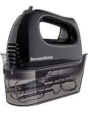 Bonsenkitchen Handmixer, 300 W, krachtige elektrische handmixer met 5 snelheden, met 2 roestvrijstalen rackets, 2 kneedhaken en een opbergkoffer.