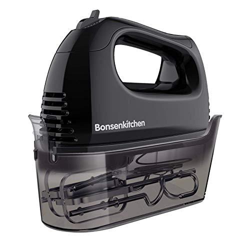 Bonsenkitchen Handmixer, 300W 5 Geschwindigkeiten leistungsstarke Elektrischer Handrührer, mit 2 Edelstahl-Schläger, 2 Knethaken und Eine Aufbewahrungskoffer