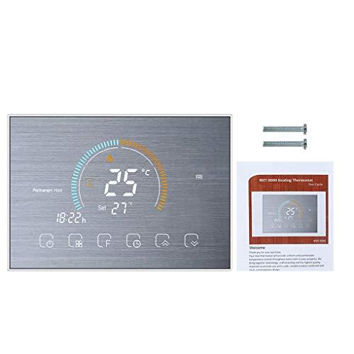 Vokmon Termostato Programable de la regulación de la Caldera retroiluminado Calentador de Agua LCD táctil Sn, Plata