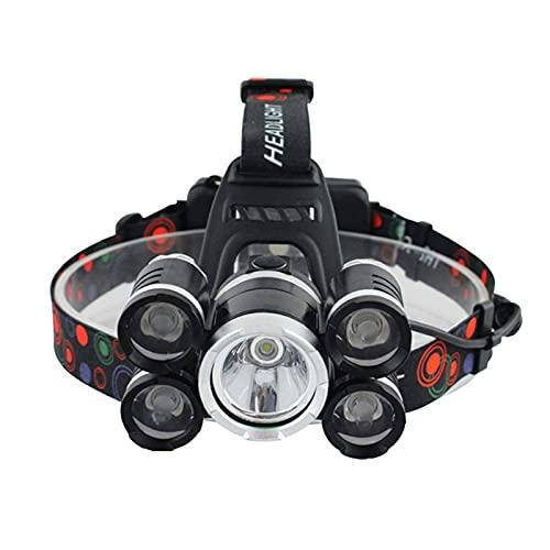 JZlamp Faro de LED Recargable Impermeable al Aire Libre, 18000 Lumen 5 LED XML T6 + 4Q5 Lámpara de Cabeza Potente, Impermeable Camping, Senderismo, Caza, Pesca