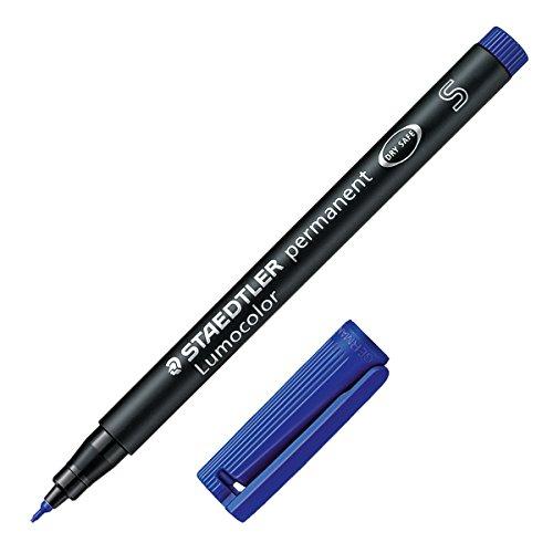 Staedtler Lumocolor - Bolígrafo permanente (línea de 0,4 mm, punta muy fina, tinta color azul, 10 unidades) Superfein (ca. 0,4 mm) (313-3)