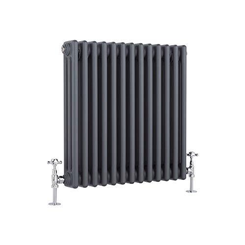 Milano Hudson Reed Regent Radiador de Diseño Horizontal en Estilo de Hierro Fundido - Radiador con Acabado Antracita - Columnas 3 x 13-950W - 600 x 605 x 100mm - Calefacción de Lujo