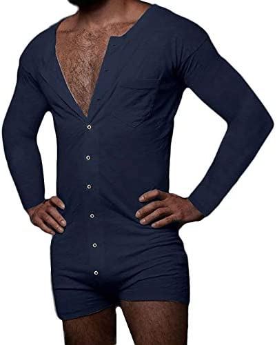 Mens Onesie Pajamas Adult Sexy Long Sleeve Shorts Jumpsuit One Piece V Neck Button Down Outfit product image