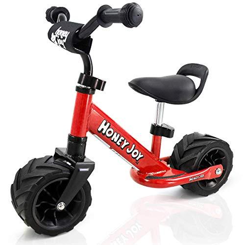 COSTWAY Bicicleta de Equilibrio Sin Pedal 66 x 55 x 38 cm Balance de Bicicleta para Niños Sillín Manillar Altura Ajustable con Pegatina de Anticolisión Carga 30KG para 1-3 Años