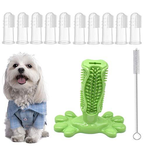 Yueser Cepillo de Dientes para Perro, Goma Natural Juguete Masticar con 10pcs Cepillo de Dientes de Dedo para Limpieza de Dientes de Perro Gato