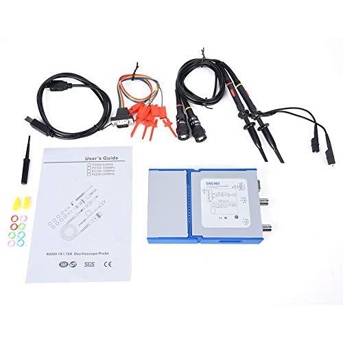 Sorpresa de verano Osciloscopio USB para PC, OSC482L USB PC Osciloscopio virtual portátil Ancho de banda de 20MHz con analizador lógico de 4 canales
