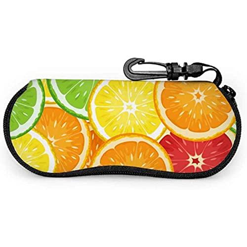 Tcerlcir Estuche para gafas Estuche para gafas de sol con ilustración vectorial de frutas cítricas sin costuras Estuche para gafas múltiples Estuche para gafas de sol de viaje, 17x8cm
