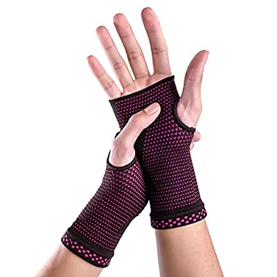 Wrist Brace Sleeves (Pair) with Medical Compression for Carpal Tunnel and Wrist Pain Relief Treatment,Night Wrist Sleep Support Brace for Men and Women (Pink, Medium)