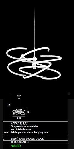 Suspension LED en métal verni blanc Lampadaire diamètre 60 cm