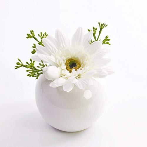 artplants.de Künstliche Gerbera IMINA im Keramiktopf, weiß, 12cm, Ø 15cm - Kunstblume - künstliche Blumen