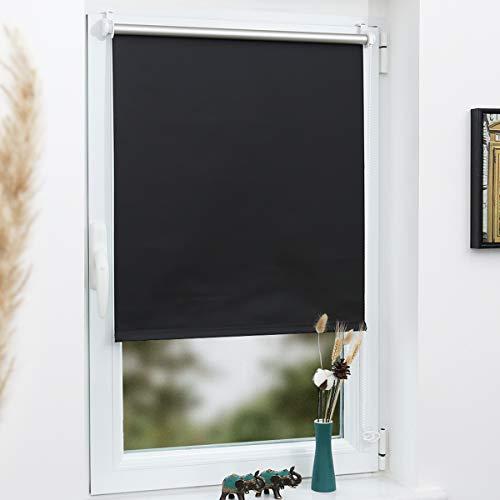 Grandekor Verdunklungsrollo Klemmfix ohne Bohren, Sichtschutz Hitzeschutz Verdunkelungsrollo 50x150cm (Stoffbreite 46cm) Schwarz, Wand-und Deckenmontag Fensterrollo für Fenster & Tür