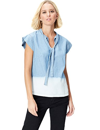 Marca Amazon - find. Dip Dye, Neck Blusa Tejana para Mujer, Azul (Blue), 38, Label: S