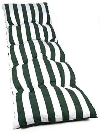 Dabuty Online, S.L. Pack de 2 Cojines de Tumbona Acolchada de Rayas 180 x 55 X5 cm Colchón Texturas Colchoneta Tumbona (Verde)