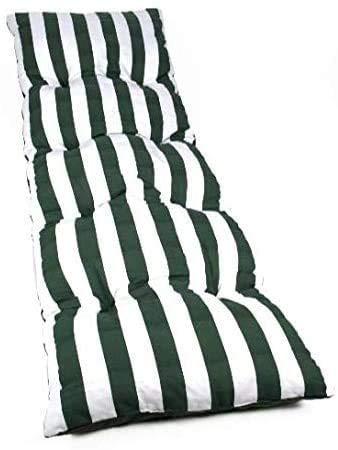 Dabuty Online, S.L. Pack de 2 Cojines de Tumbona Acolchada de Rayas 180 x 50 X 5 cm Colchón Texturas Colchoneta Tumbona (Verde)