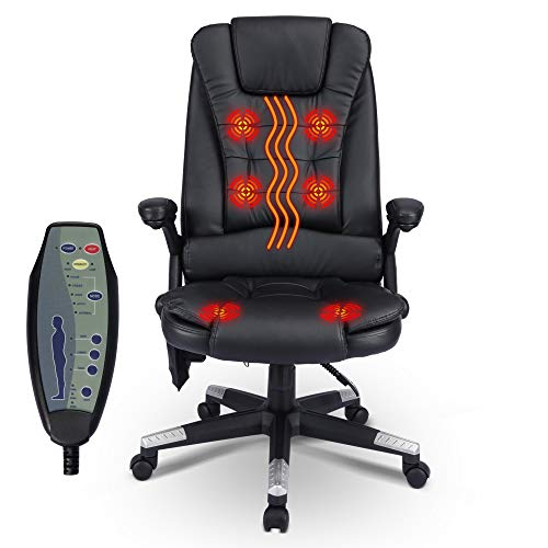 Frivity Home Office Desk Chair with Vibrating Massage and Heating, High Back Executive Swivel Chair Adjustable Ergonomic PU Leather Computer Chair Gaming Chair Managerial Task Chair, Black