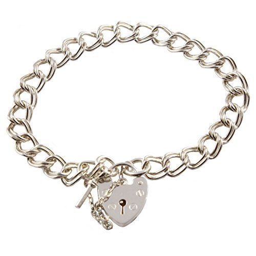.925 Sterling Silver Double Lien Bracelet Breloque