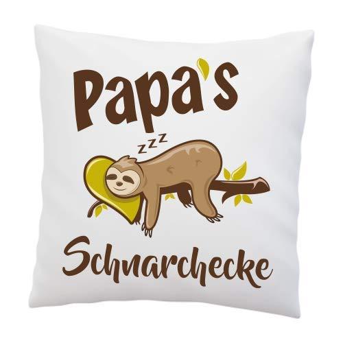 Liebtastisch Kissen mit Spruch - Papa's Schnarchecke - Bester Papa - Vatertag - Faultier - Geburtstag - Geschenkidee - Geschenk - Kissen mit Füllung